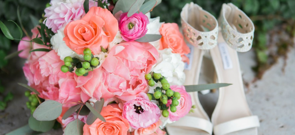 Dallas wedding florist floral arrangement and bridal shoes