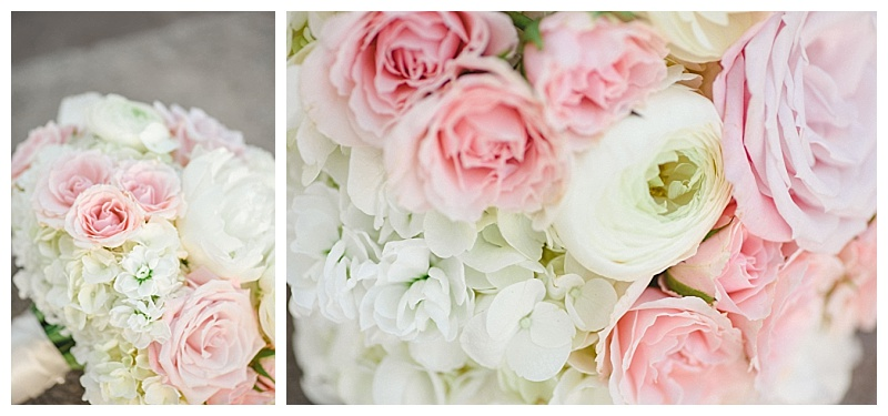 Traditional white and blush dallas wedding flowers at the Old Red Museum