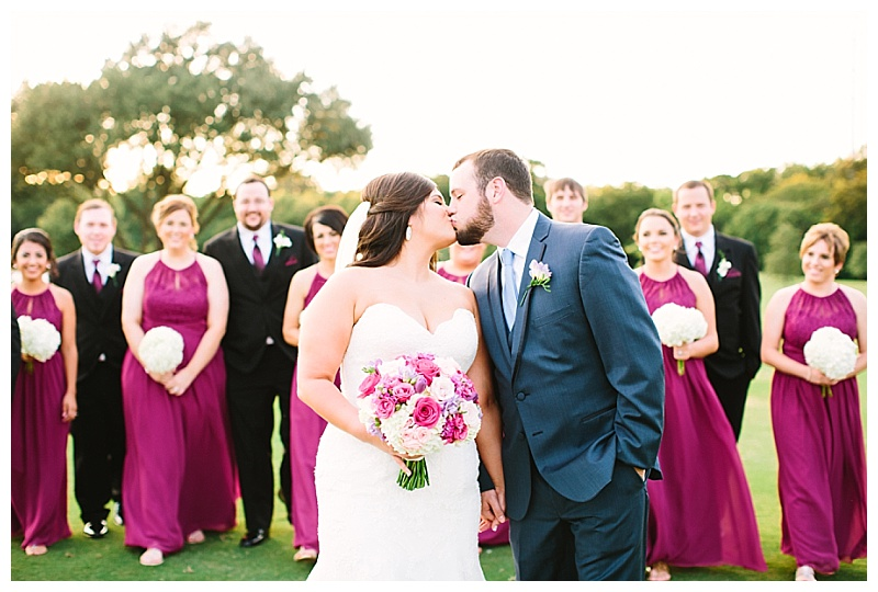 bold purple and pink dallas texas country club wedding flowers